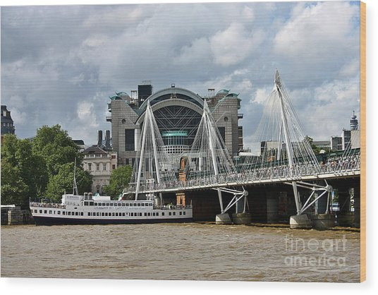 Wood Print featuring the photograph Hungerford Bridge And Charing Cross by Jeremy Hayden