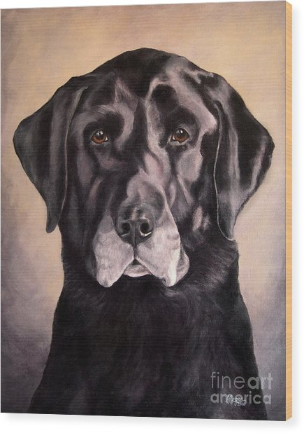 Hunting Buddy Black Lab Wood Print