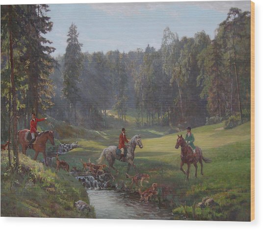 Hunting With Hounds Wood Print by Korobkin Anatoly