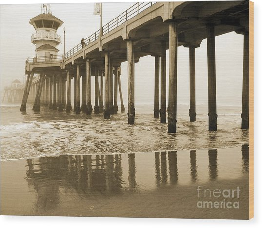 Huntington Beach Pier - Vintage Wood Print