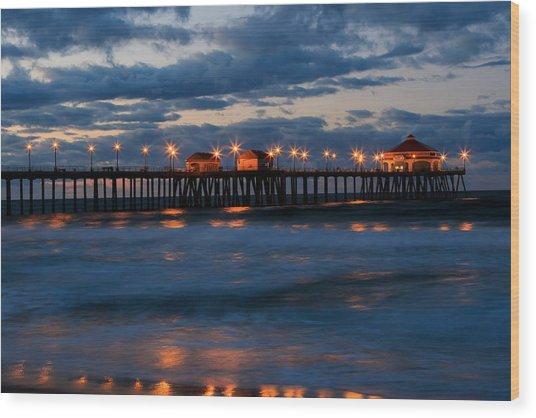 Huntington Beach Pier Lights  Wood Print