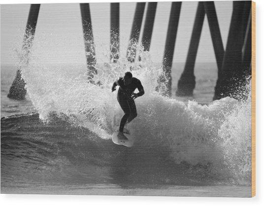 Huntington Beach Surfer Wood Print