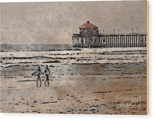 Huntington Beach Surfers Wood Print