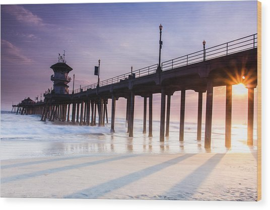 Huntington Pier Wood Print