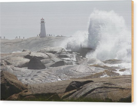 Hurricane Irene At Peggy's Cove Nova Scotia Canada Wood Print