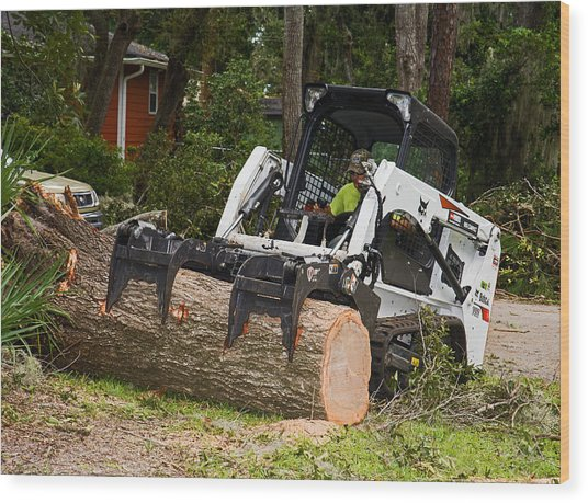 Hurricane Irma Damage, Bobcat Tractor Wood Print by Millard H. Sharp