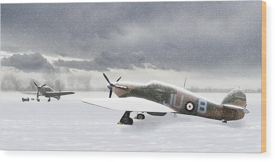 Hurricanes In The Snow Wood Print