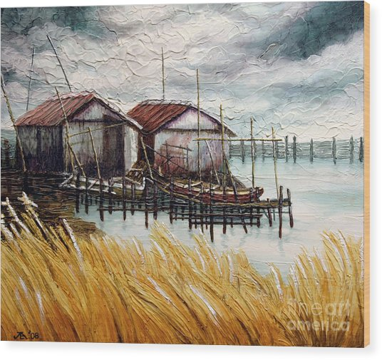 Huts By The Shore Wood Print