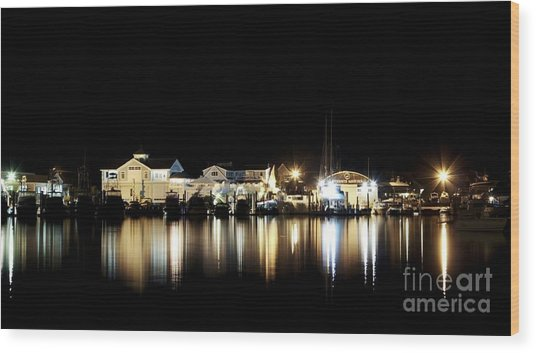 Hyannis At Night Wood Print