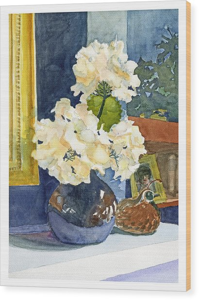 Hydrangeas On Mantle Wood Print
