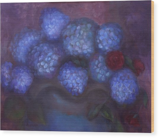 Hydrangeas Wood Print by Susan Hanlon