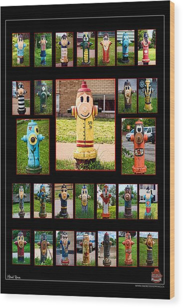 Hydrants Wood Print by Mitchell Brown