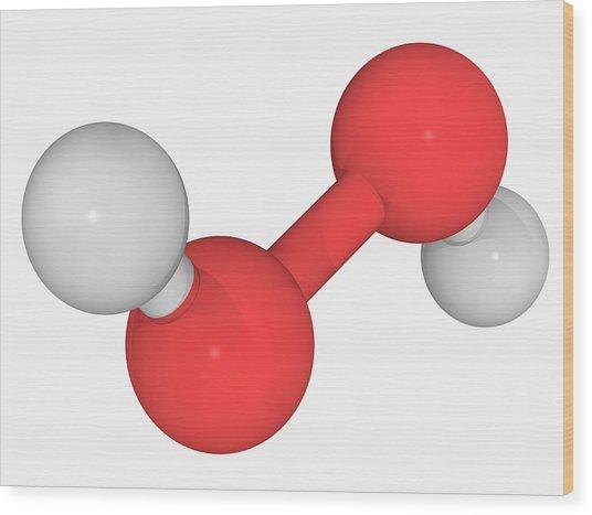 Hydrogen Peroxide Molecule Wood Print by Laguna Design/science Photo Library
