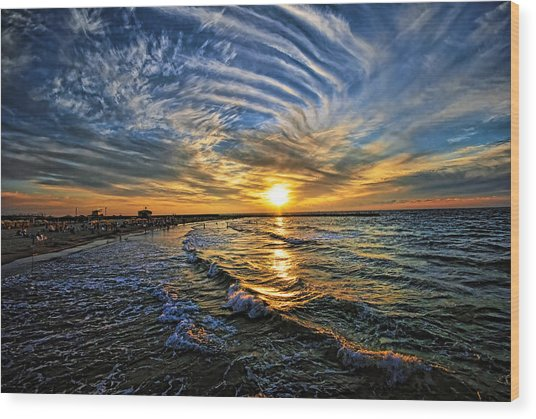 Hypnotic Sunset At Israel Wood Print