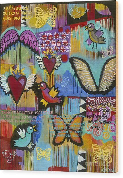 Wood Print featuring the painting I Have Wings To Fly by Carla Bank