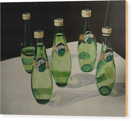 Perrier Bottled Water, Green Bottles, Conceptual Still Life Art Painting Print By Ai P. Nilson Wood Print