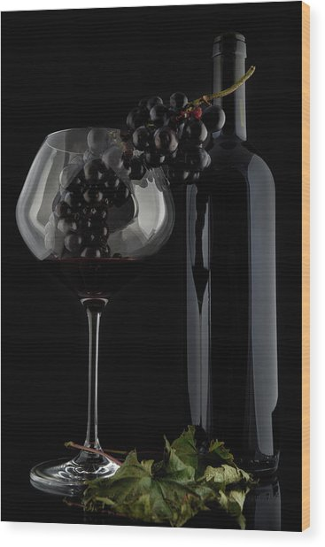I Love Wine ! V Wood Print by Alessandro Fabiano