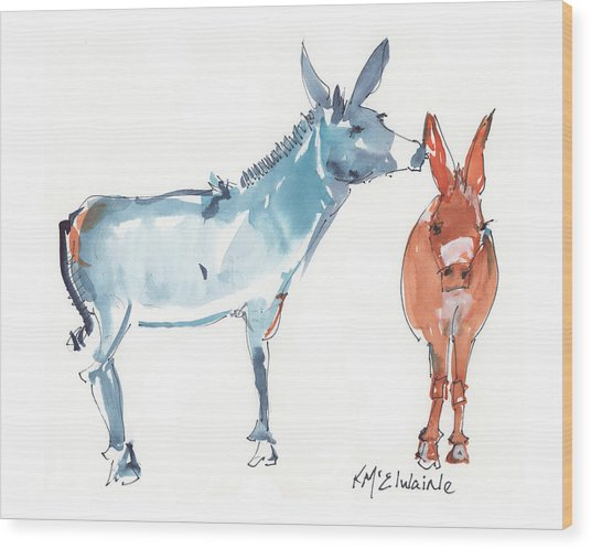 I Love You Donkey Art Watercolor Painting By Kmcelwaine Wood Print