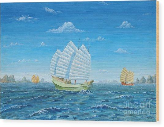 I Saw Three Ships Wood Print