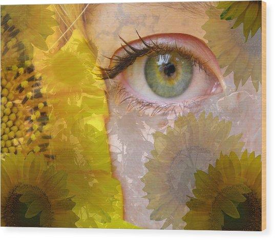 I See Sunflowers Wood Print
