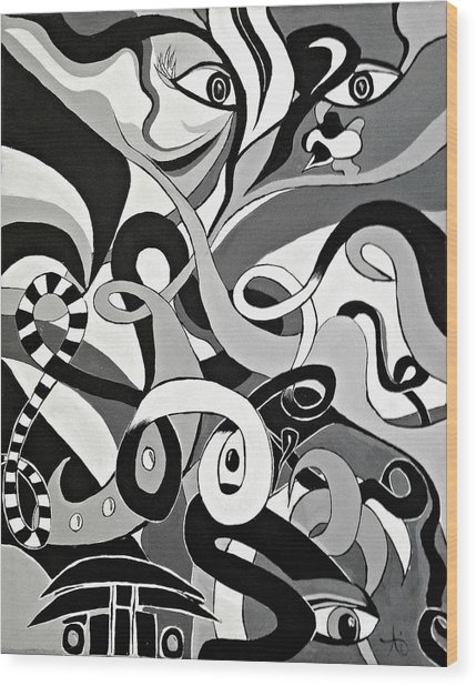 Black White Grey Acrylic Painting, Original Abstract Art, Hidden Eye Art  Wood Print