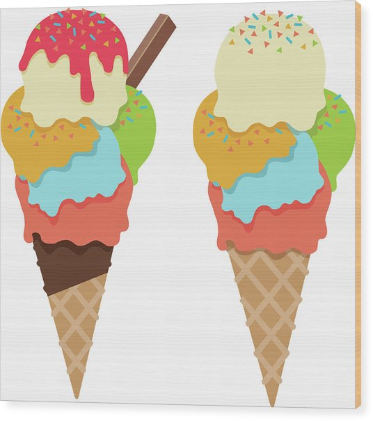 Ice Cream Cones With Sprinkles And Wood Print by Stevegraham