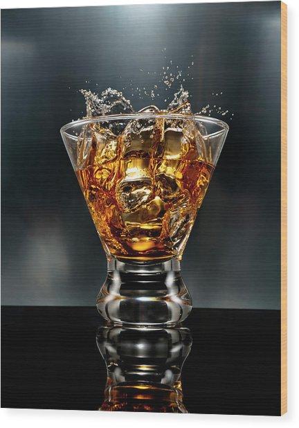 Ice Cube Splash Alcohol Drink Wood Print