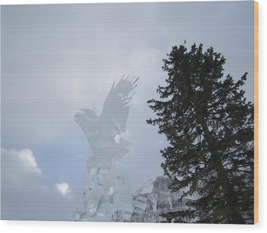 Ice Eagle Wood Print
