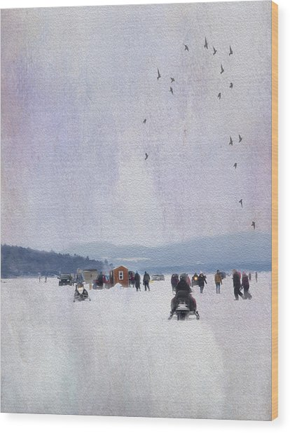 Ice Fishing And Snowmobiles  Wood Print