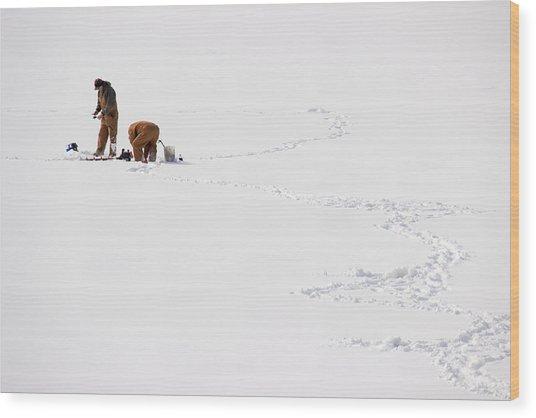 Ice Fishing In Iowa Wood Print