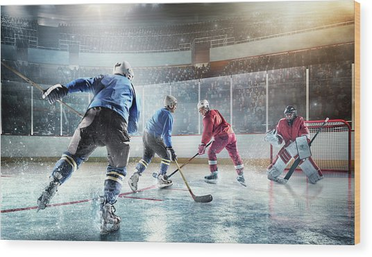 Ice Hockey Players In Action Wood Print by Dmytro Aksonov