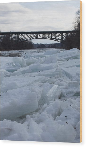 Ice Jam I-91 Bridge Brattleboro Vt Wood Print