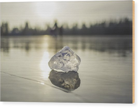 Ice Puck On Little Rock Lake Wood Print