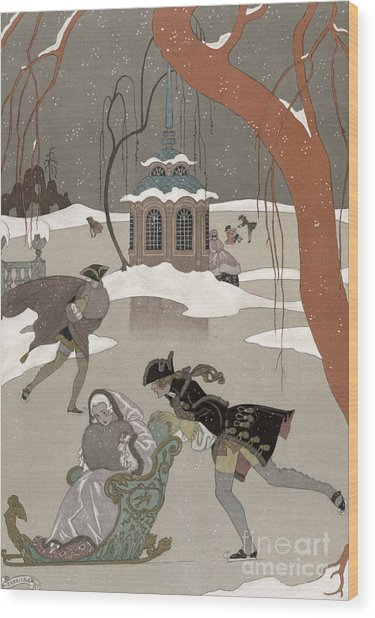 Ice Skating On The Frozen Lake Wood Print