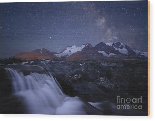 Icefields At Night Wood Print