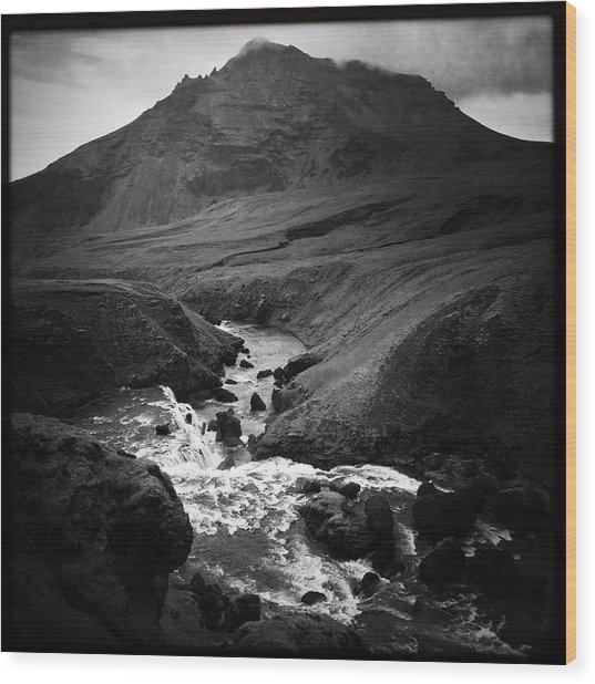 Iceland Landscape With River And Mountain Black And White Wood Print