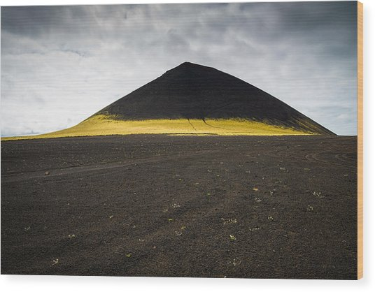 Iceland Minimalist Landscape Brown Black Yellow Wood Print