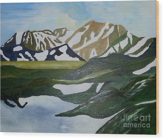 Iceland Mountains Wood Print