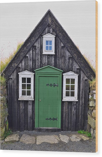 Icelandic Old House Wood Print