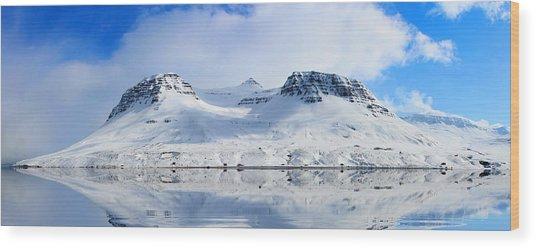 Icelandic Sunny Spring Day Panorama Wood Print