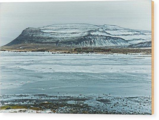 Icelandic Winter Landscape Wood Print