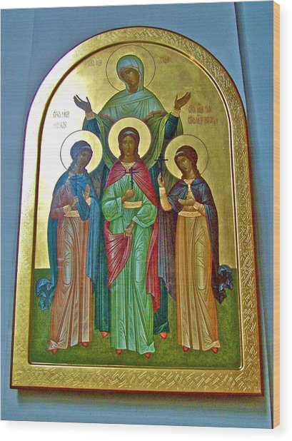 Icon Inside Chesme Church Built By Catherine The Great In Saint  Petersburg-russia Wood Print