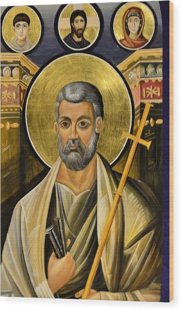 Icon Of Holy Apostle Peter Wood Print