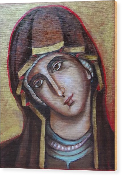 Icon Of Virgin Mary Wood Print
