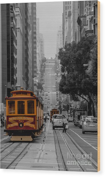 Iconic Cable Car Wood Print