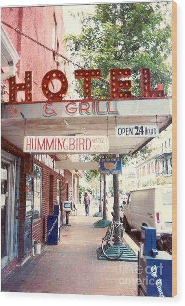Iconic Landmark Humming Bird Hotel And Grill In New Orelans Louisiana Wood Print