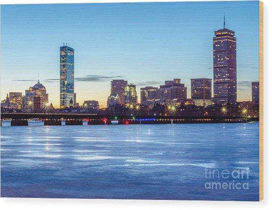 Icy Boston At Dawn Wood Print