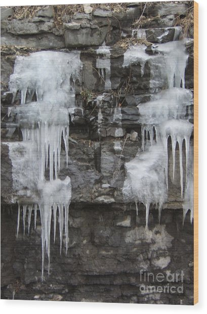 Icy Ledges Wood Print by Margaret McDermott