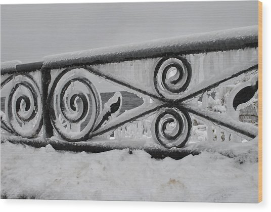 Icy Railing Wood Print by Mark Alan Perry