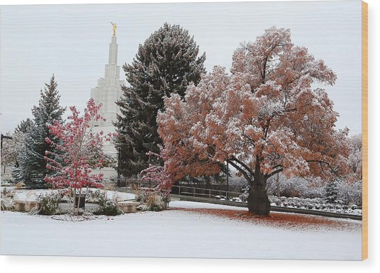 Idaho Falls Temple Winter Wood Print